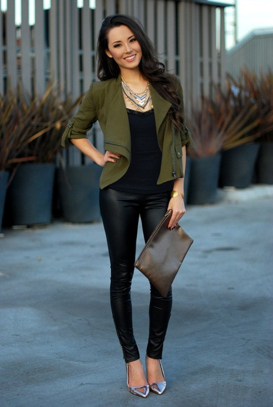 What to Wear With Leather Pants If you decided to buy such extremely trendy item as leather pants this fall, you need to have several ideas on how to wear them. If you combine your leather pants with white shirt, you are guaranteed to look both – trendy and elegant.